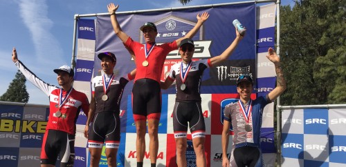 Todd Wells stands atop the pro men's STXC podium - Photo RideBiker Alliance