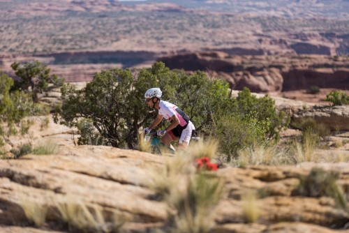 Justin Lindine solos his way to a win in Moab - photo by Angie Harker
