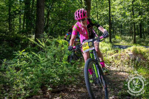 Vicki Barclay (Stan's NoTubes Elite Women's Team) heads off the road and onto a section of singletrack in stage 6 of the NoTubes Trans-Sylvania Epic.Photos by: Trans-Sylvania Epic Media Team