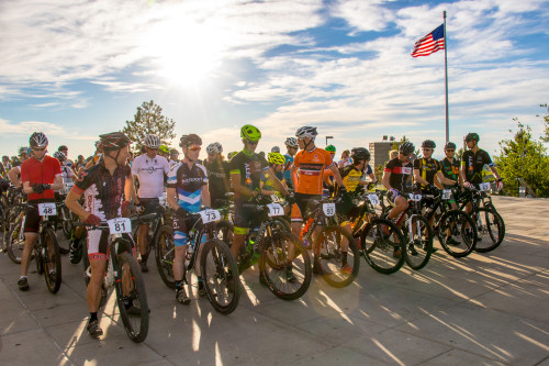 Riders line up for the start with open men's winner Jamie Bush (#73) on the front - photo by John Bush
