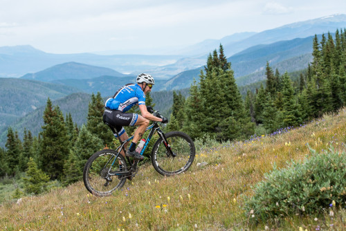 Carl Decker starts the Colorado trail descent. Photo by Eddie Clark