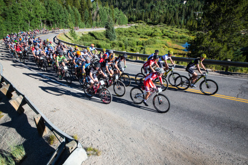 Racers roll out on Stage 1 of the 2015 Breck Epic