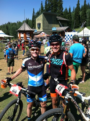 Race winner Josh Tostado (right) and Jamie Lamb at the finish - Photo by Ryan O'Dell