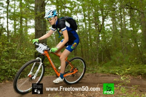 Riders enjoy the singletrack at Freetown 50. Photo by Deb Levesque