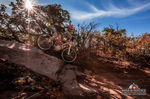 Skills play a huge part in every mountain bike race. Here a rider is tested at the 2015 Moab Rocks stage race. Photo by: Raven Eye Photo