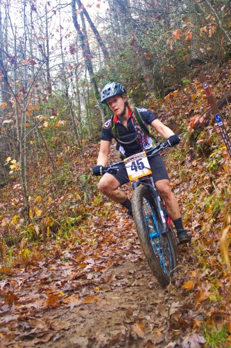 Megan Hutton on her way to a win in the women's race. Photo courtesy of: Blue Ridge Adventures