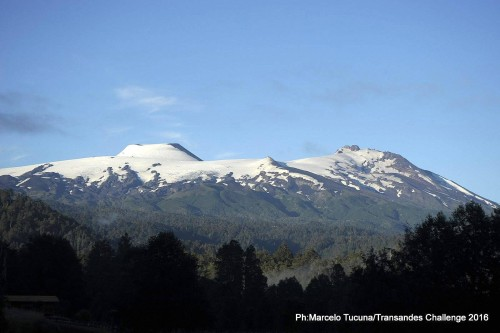 The first three stages take place in the shadow of the Choshuenco Volcano. Photo by: Marcelo Tucuna/TransAndes Challenge 2016