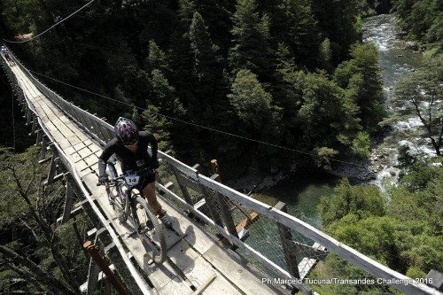 The highest of all the suspension bridges and probably the least sturdy. Photo by: Marcelo Tucuna/TransAndes Challenge 2016