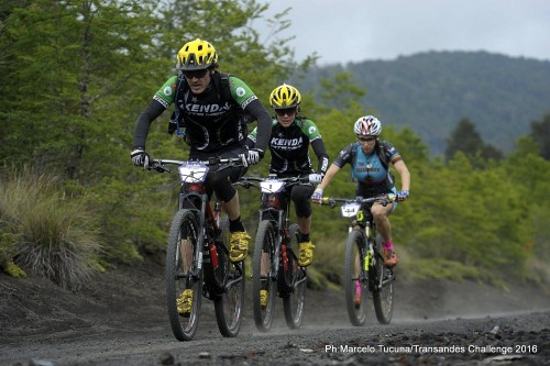 Mike Broderick leads his teammate Mary McConnelloug and solo rider Sonya Looney on stage 1. Photo by: Marcelo Tucuna/TransAndes Challenge 2016