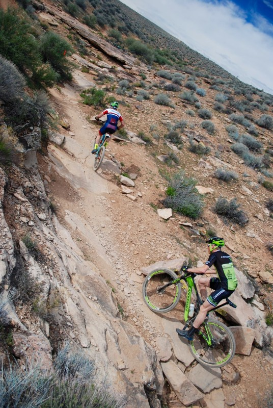 Alex Grant chases Justin Lindine on lap one of four in St. George. Photo by: Shannon Boffeli