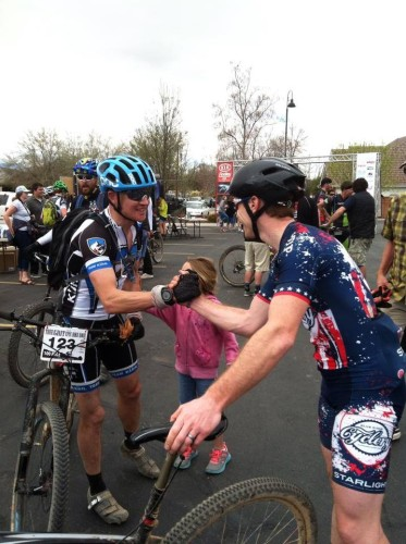 Corey Larrabee and Gordon Wadsworth congratulate each other at the finish. Photo by Ryan O'Dell