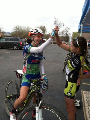 Jen Hanks and Karen Jarchow celebrate after the finish. Photo by Ryan O'Dell