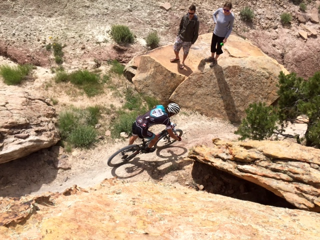 Levi Kurlander (Ride Biker) weaves through the rocks at Grand Junction Off-Road. Photo by Shannon Boffeli