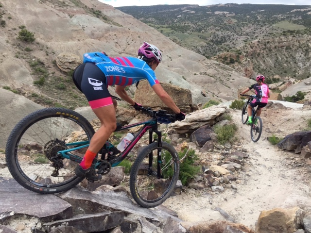 Courtenay McFadden (American Classic) keeps Mical Dyck (NoTubes) in her sights late in the race. Photo by Shannon Boffeli