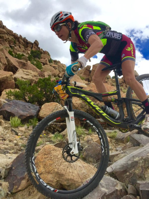 Jen Hanks (Pivot/DNA Cycling) stays focused in the rocks. Photo by Shannon Boffeli