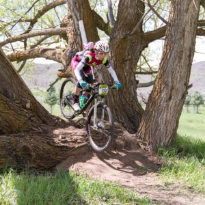 Jen Hanks gets focused on the log crossing at Soldier Hollow. Photo by: Angie Harker/Selective Vision