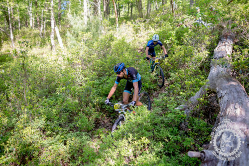 Kerry Werner (Rally Cycling) leads Justin Lindine (APEX / NBX / Trek) through a tight section of singletrack early in the second stage of the NoTubes Trans-Sylvania Epic. The two top elite men's riders would stay together for the duration of the stage - neither was able to shake the other.