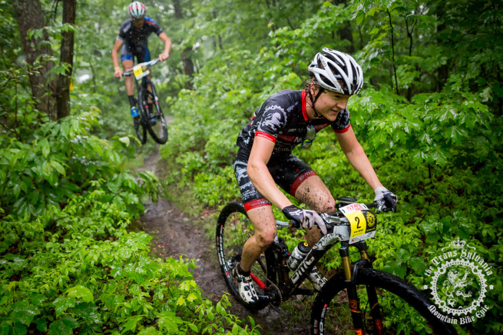 State College, Pennsylvania local Aaron Albright (NoTubes Trans- Sylvania Epic) cruises on his home trails at the NoTubes Trans-Sylvania Epic.