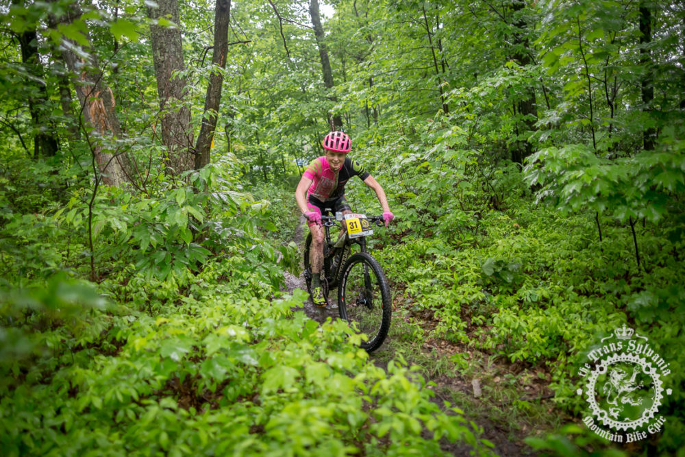 Race leader Vicki Barclay (Stan's NoTubes Elite Women's Team) was still smiling at this point in the final stage of the NoTubes Trans-Sylvania Epic; however, that would change later in the day. She broke her handlebar just after the second aid station and dropped out of the race.