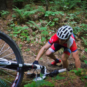 Slick conditions caused many falls during the Mohican 100 an conditions would get worse as rain started falling later in the day. Photo by: Butch Phillips Photography