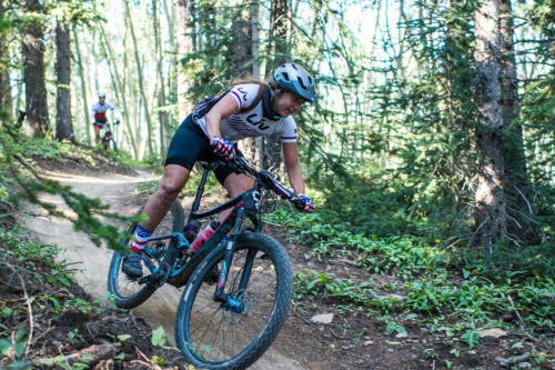 Kaysee Armstrong rode to second in the women's pro/open category, 6:43 behind Amy Krahenbuhl.