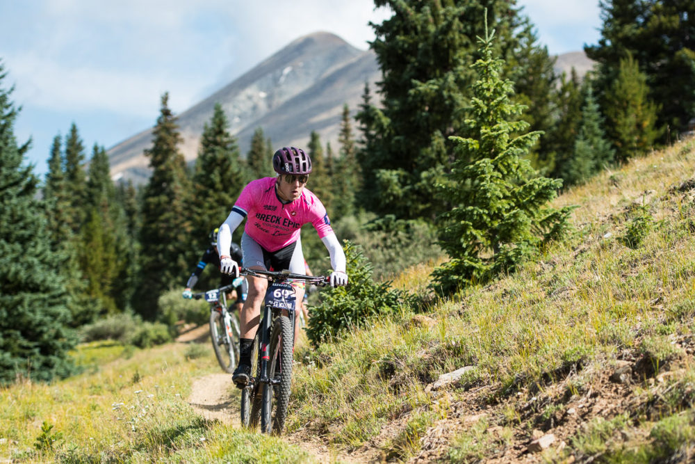 The overall singlespeed winner, Vince Anderson drops into the Gold Dust trail on the final stage of the 6 day Breck Epic. Photo by: Eddie Clark