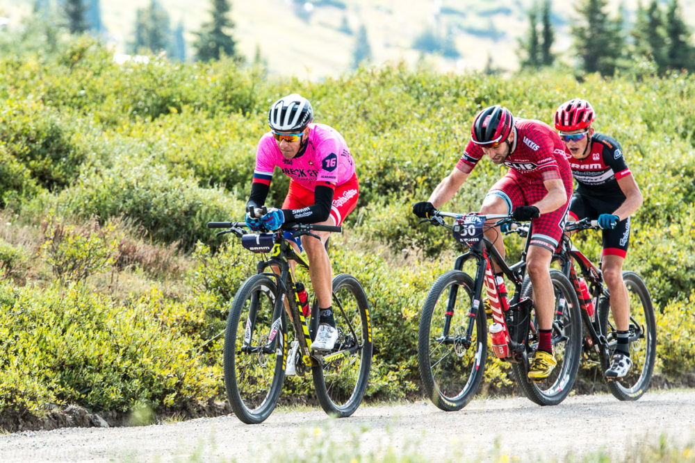 Todd Wells decided to dust off his Leadville 100 winning bike, aero bars and all, for the final stage of the Breck Epic. Todd finished 6th on the stage, but maintained his overall win for the 6 day open men's race. Photo by: Eddie Clark