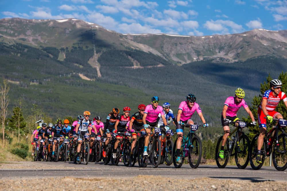 The roll-out on the road was quick and the first climb broke up the race quickly. The Colorado Trail stage of the Breck Epic is a big one in terms of both mileage and pue Colorado mountain biking. Photo by Liam Dorian