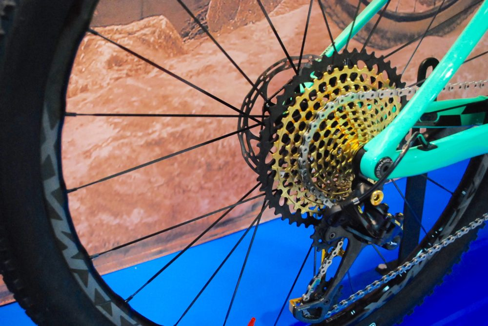 Eagle's giant 50-tooth big cog dwarfs a 160mm brake rotor.