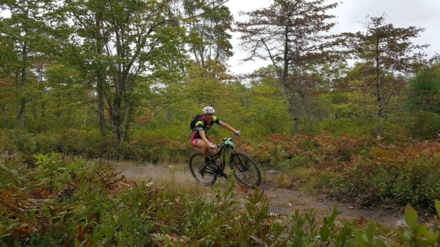 Karen Potter (Pivot/DNA Cycling) on one of the few smooth sections of the Freetown 50.