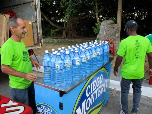 Riders are given 2 liters of bottled water at the beginning of each stage. Tap water in Cuba cannot be trusted.